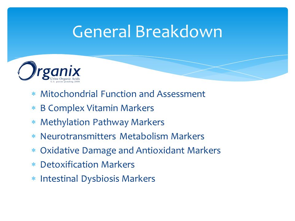 General Breakdown Mitochondrial Function and Assessment
