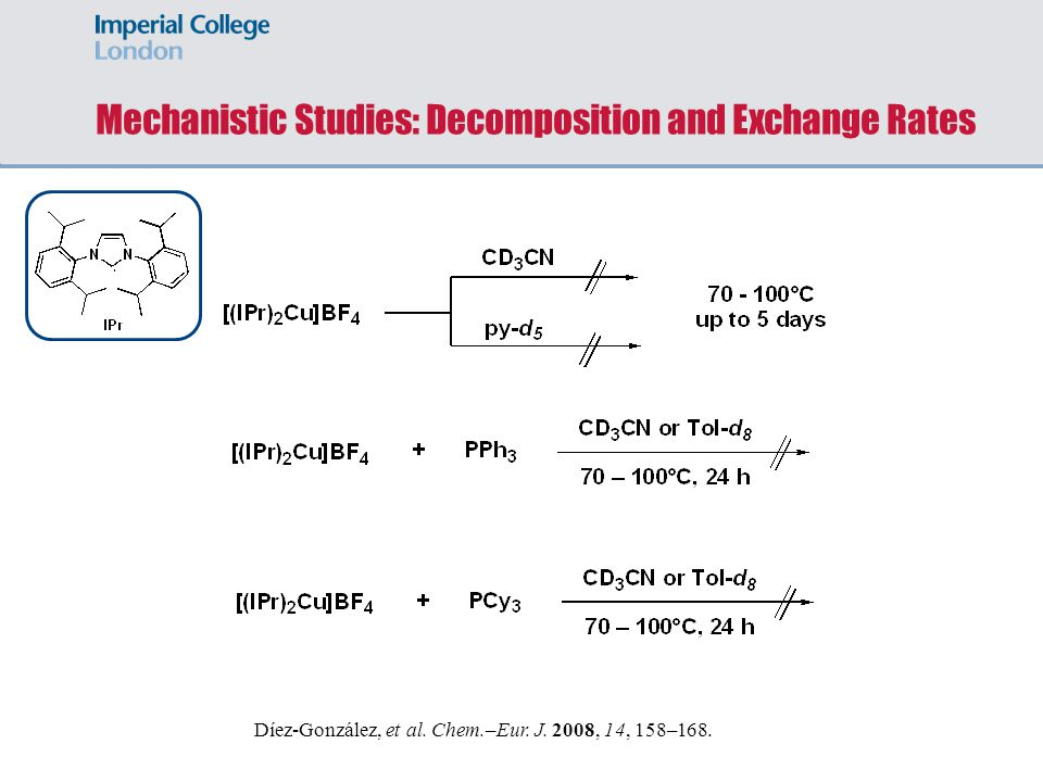 Mechanistic Studies: Decomposition and Exchange Rates