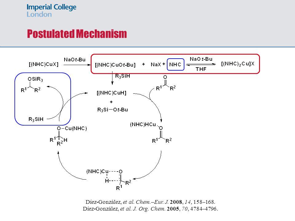 Postulated Mechanism Díez-González, et al. Chem.–Eur. J. 2008, 14, 158–168. Díez-González, et al. J. Org. Chem. 2005, 70, 4784–4796.
