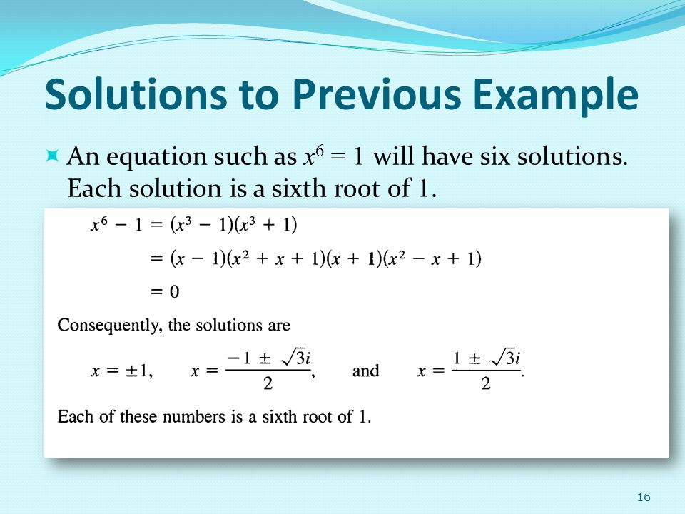 Solutions to Previous Example