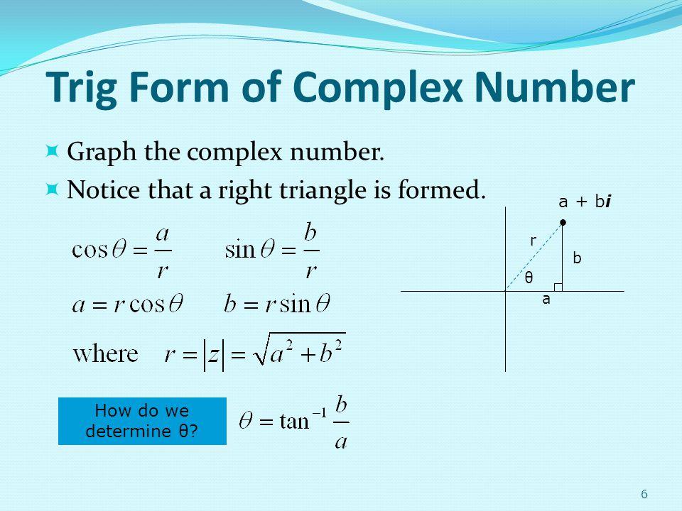 Trig Form of Complex Number