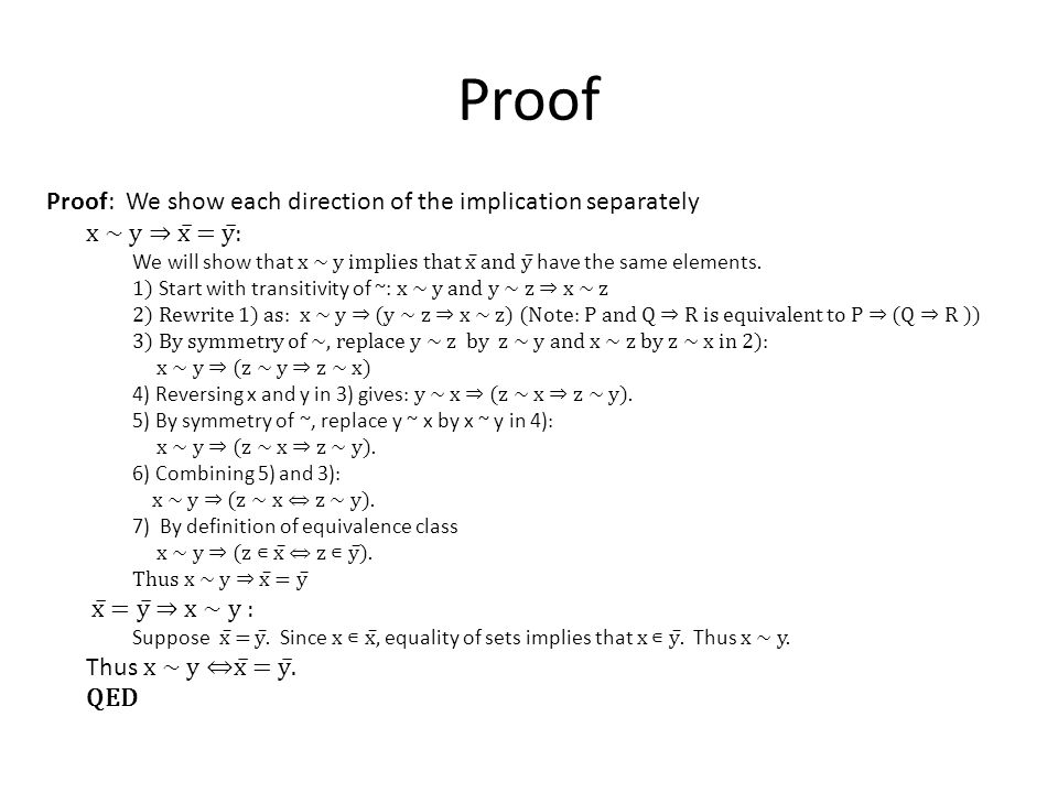 Proof Proof: We show each direction of the implication separately