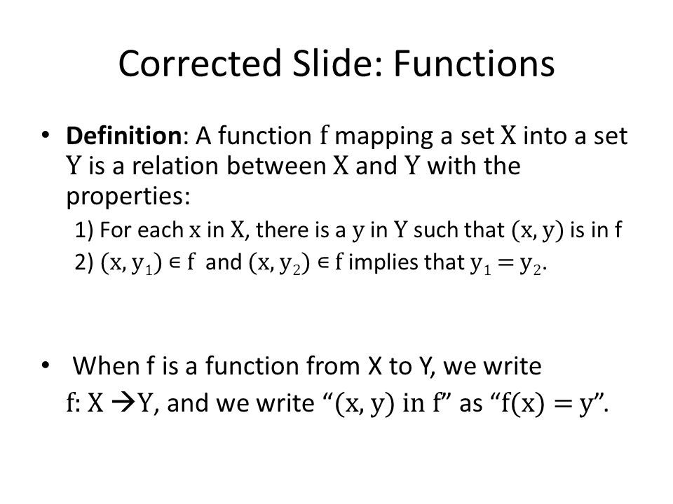 Corrected Slide: Functions