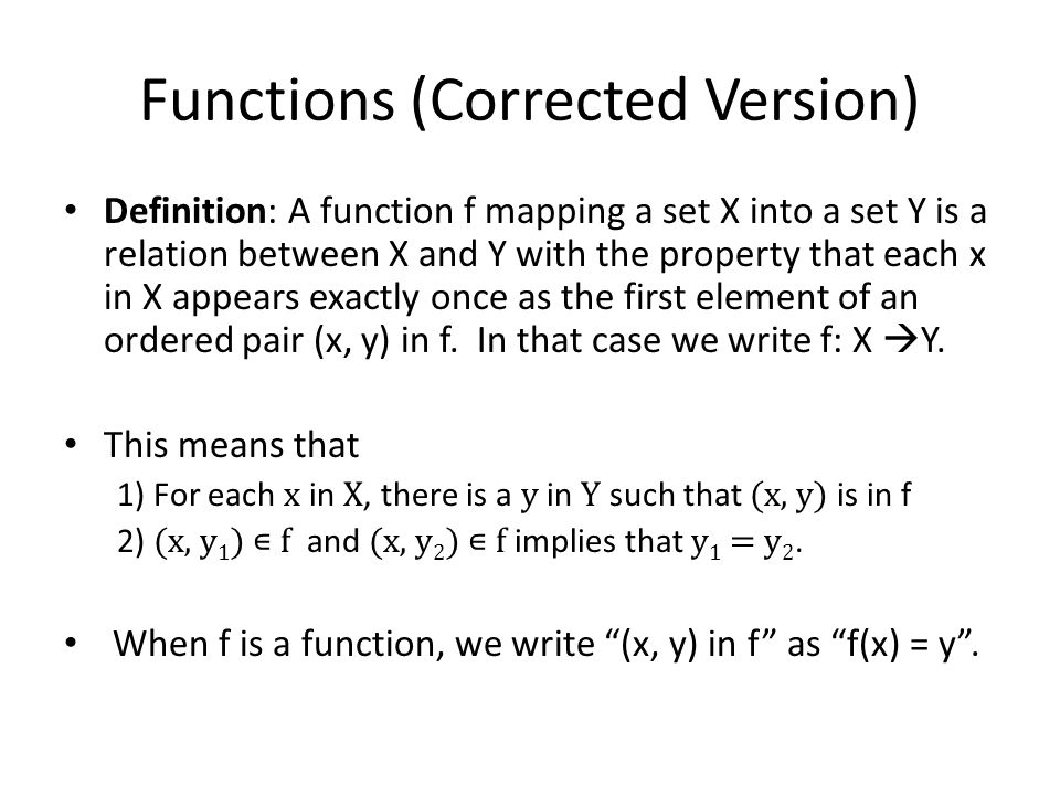 Functions (Corrected Version)