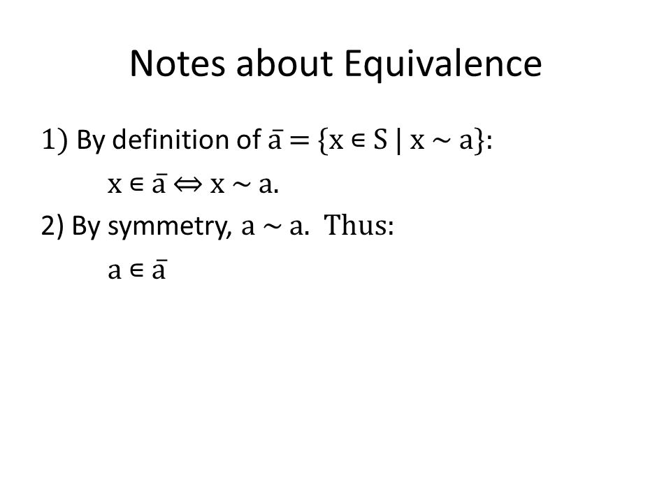 Notes about Equivalence