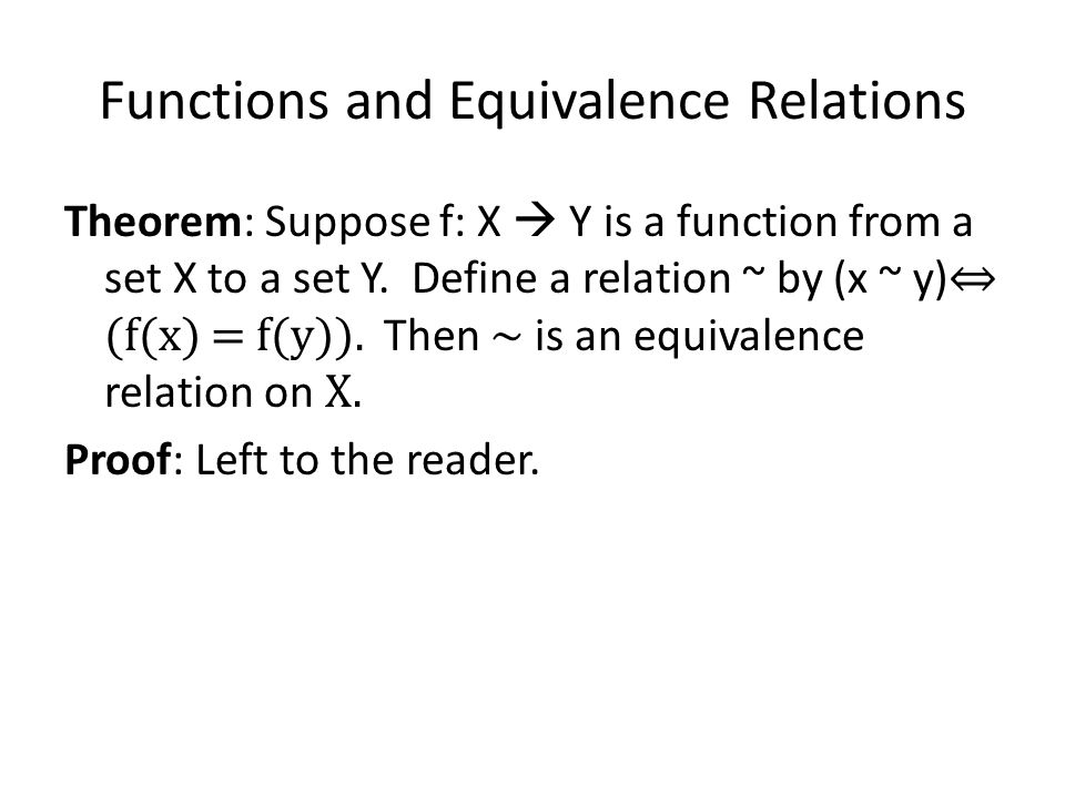 Functions and Equivalence Relations
