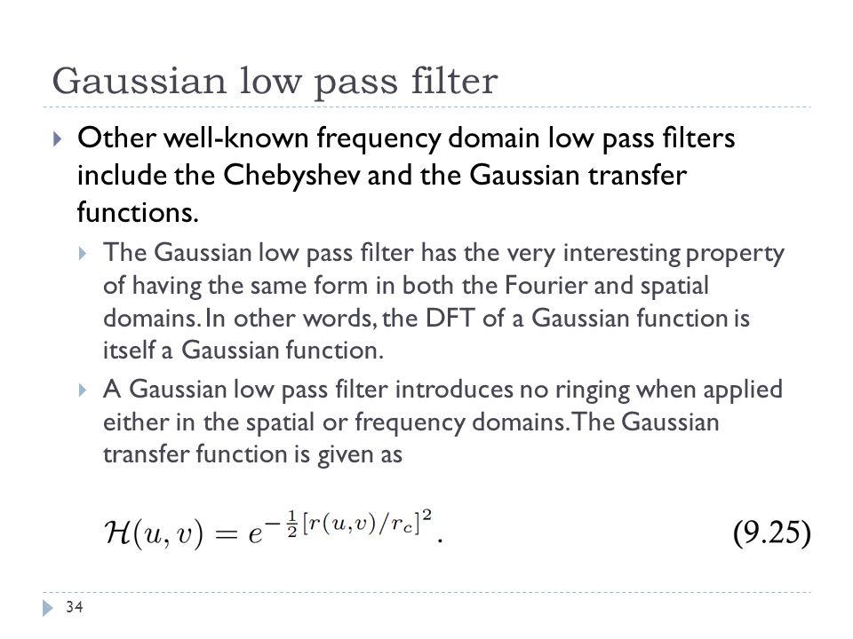 Gaussian low pass filter