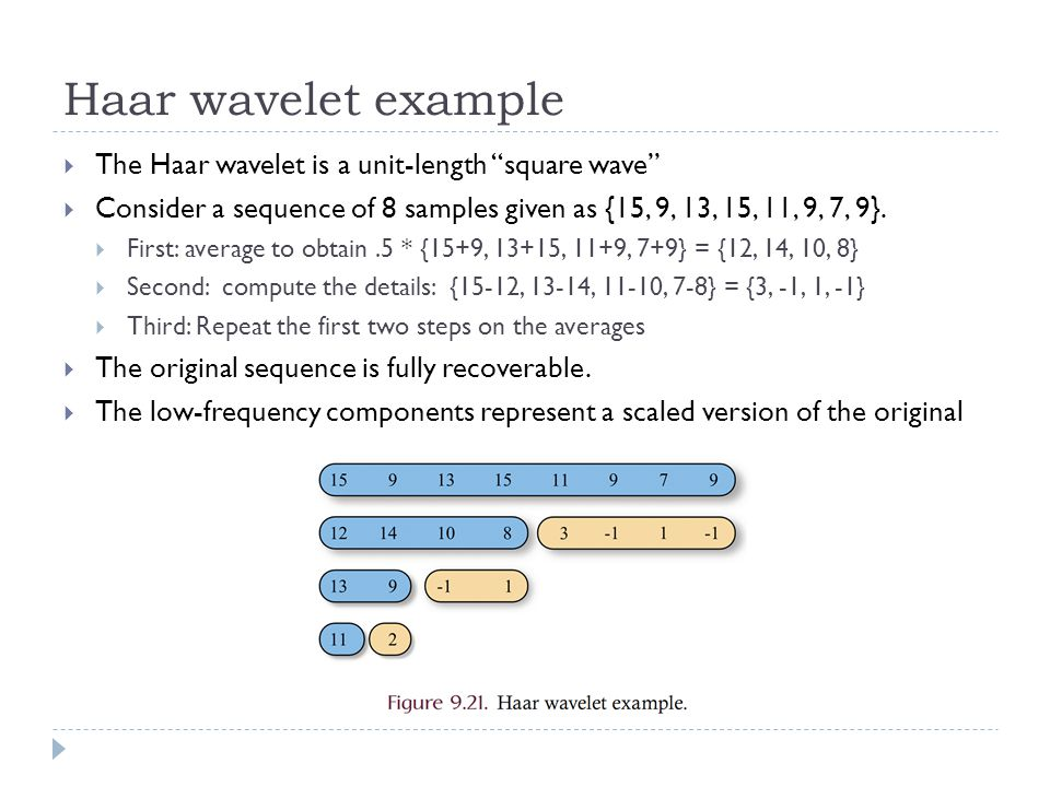 Haar wavelet example The Haar wavelet is a unit-length square wave