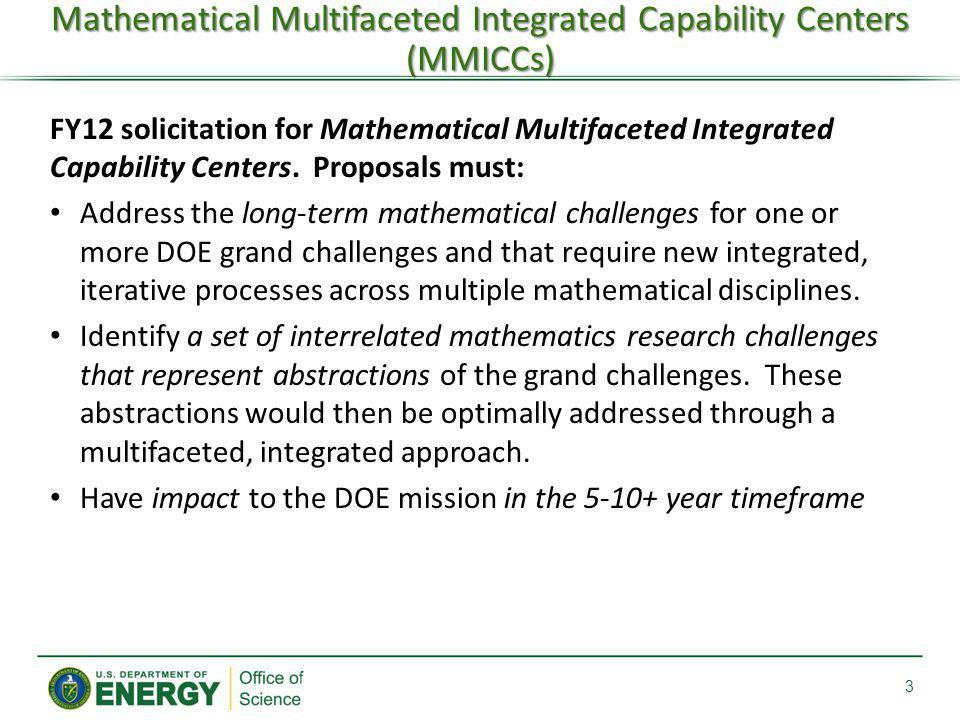Mathematical Multifaceted Integrated Capability Centers (MMICCs)