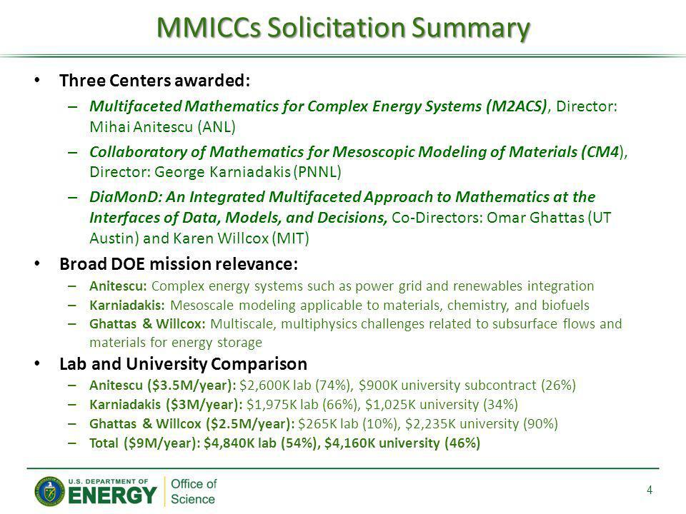 MMICCs Solicitation Summary
