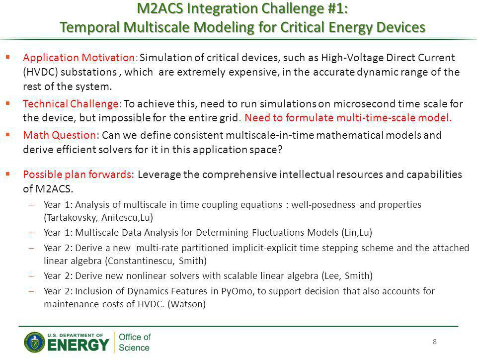 M2ACS Integration Challenge #1: Temporal Multiscale Modeling for Critical Energy Devices