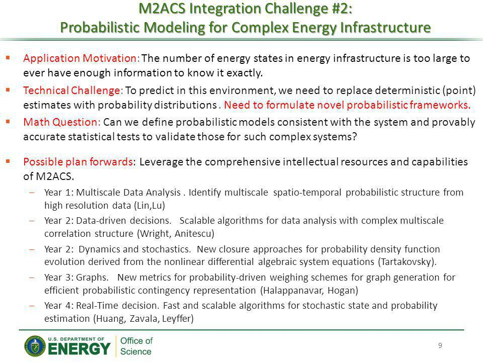 M2ACS Integration Challenge #2: Probabilistic Modeling for Complex Energy Infrastructure
