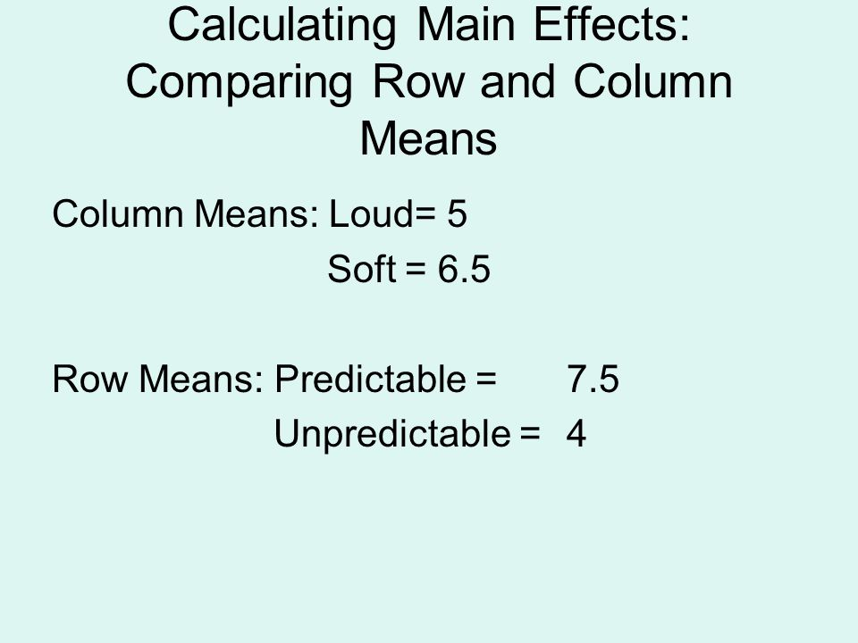 Calculating Main Effects: Comparing Row and Column Means