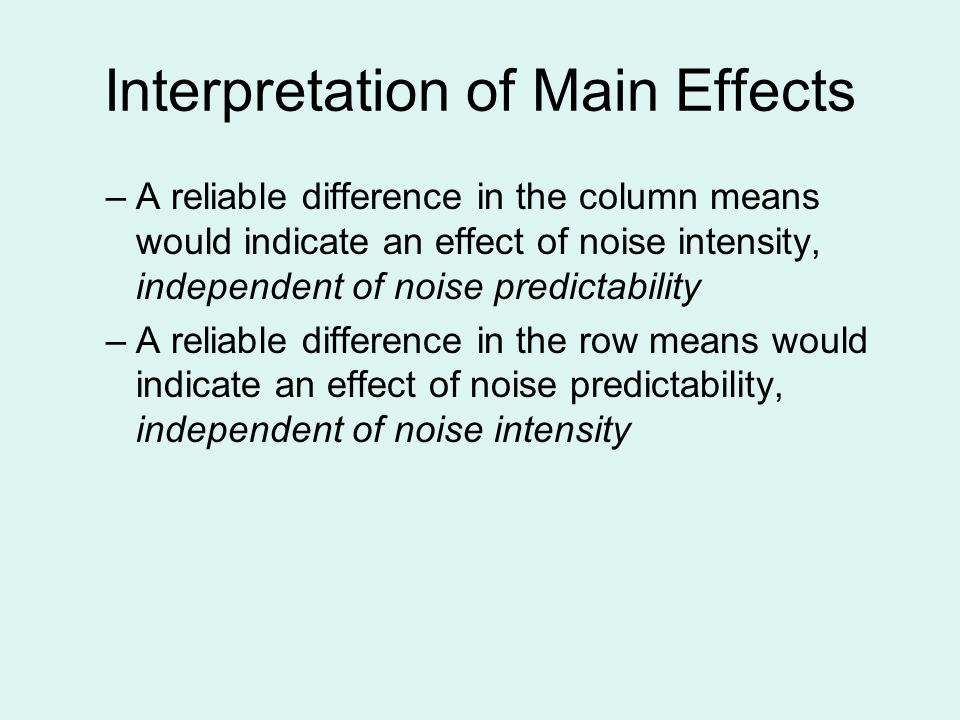 Interpretation of Main Effects