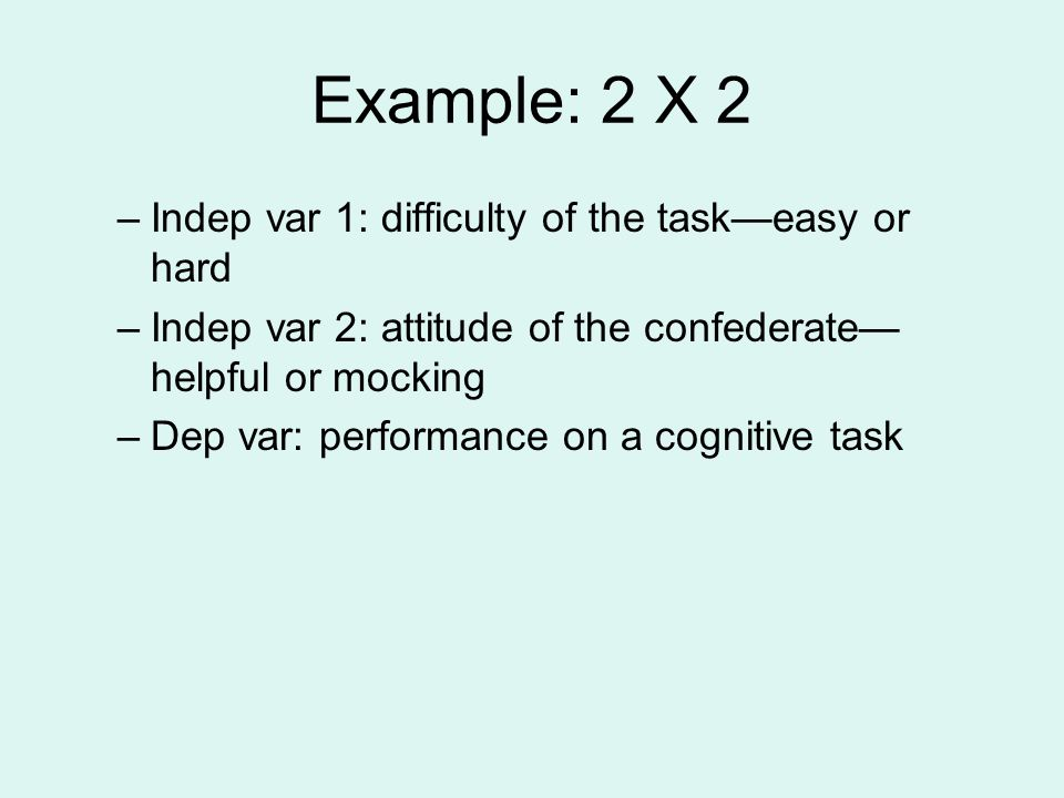 Example: 2 X 2 Indep var 1: difficulty of the task—easy or hard