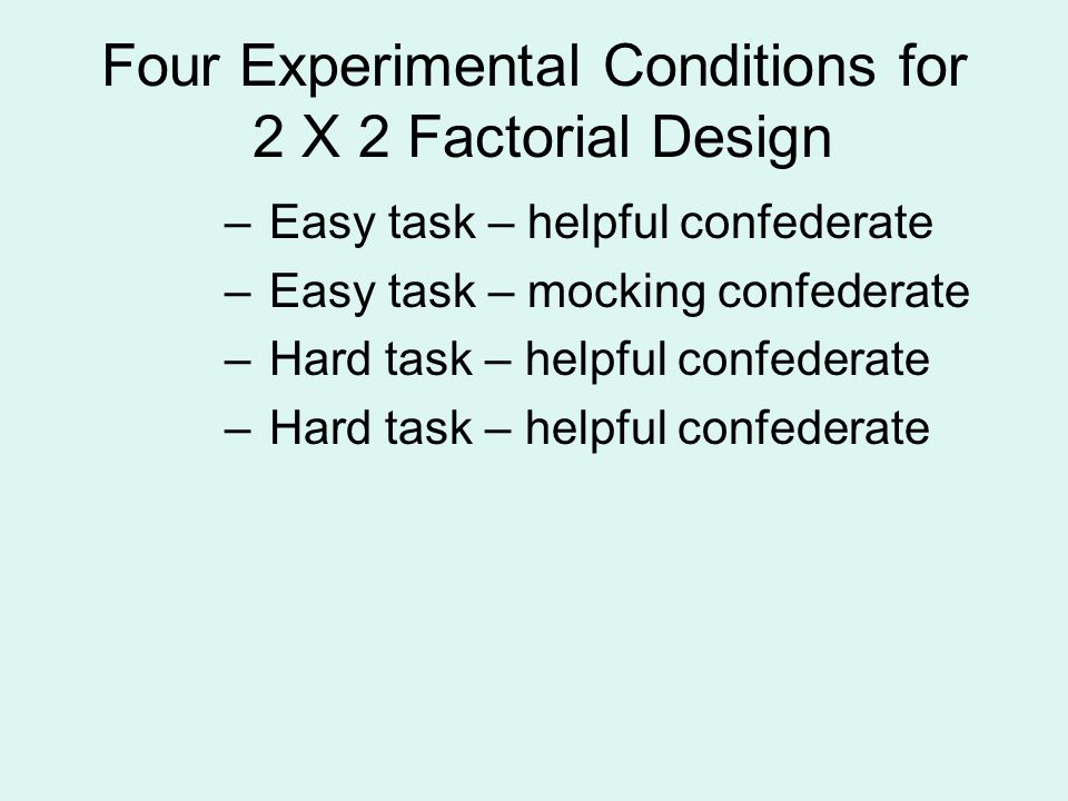 Four Experimental Conditions for 2 X 2 Factorial Design