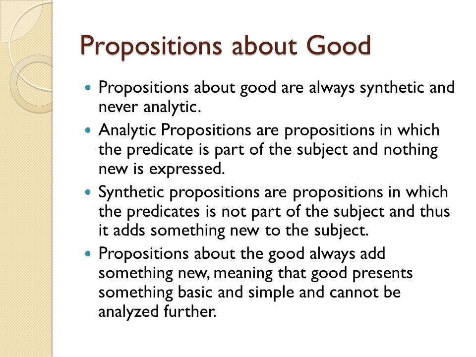 Propositions about Good