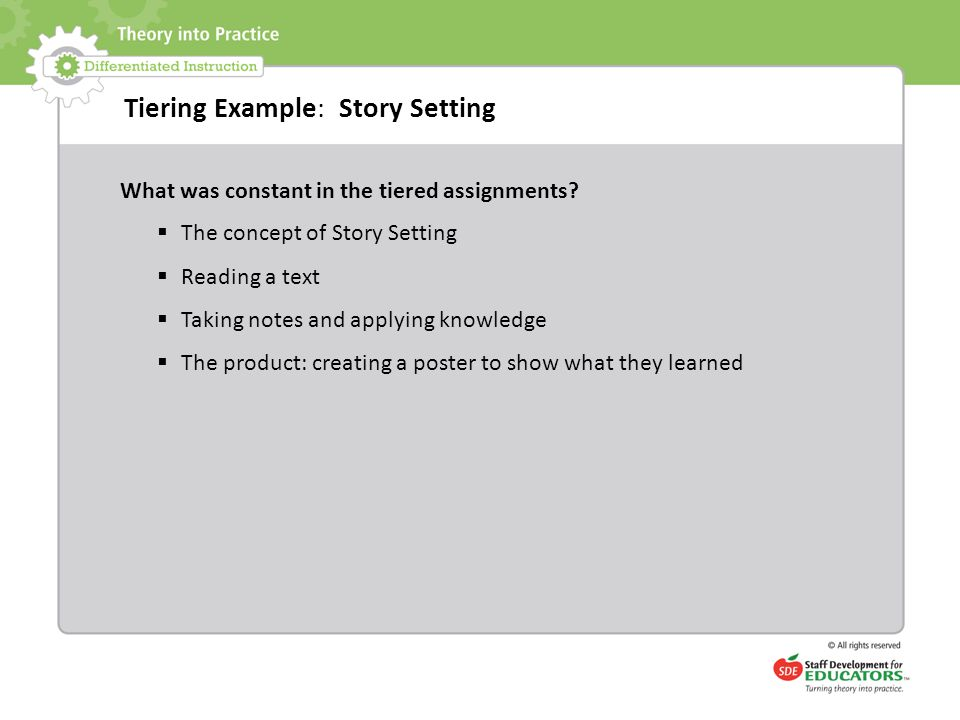 Tiering Example: Story Setting