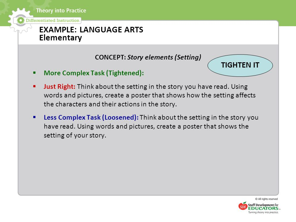 EXAMPLE: LANGUAGE ARTS Elementary