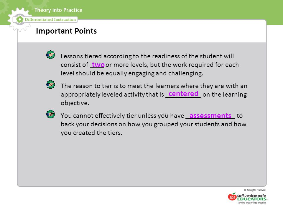 Important Points two centered assessments