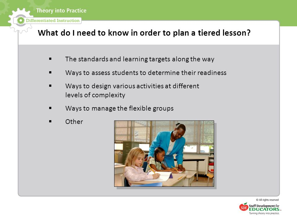 What do I need to know in order to plan a tiered lesson