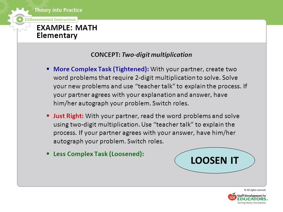EXAMPLE: MATH Elementary