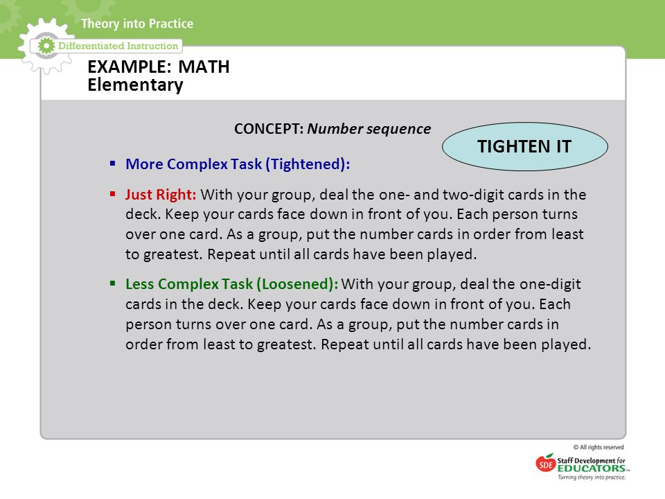 EXAMPLE: MATH Elementary