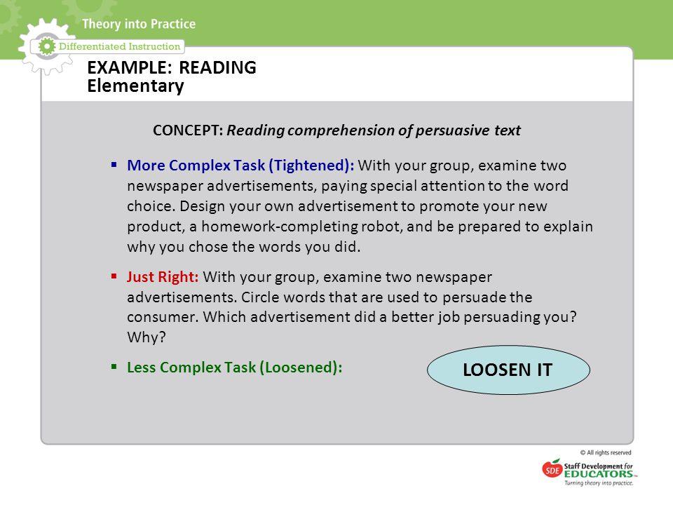 EXAMPLE: READING Elementary