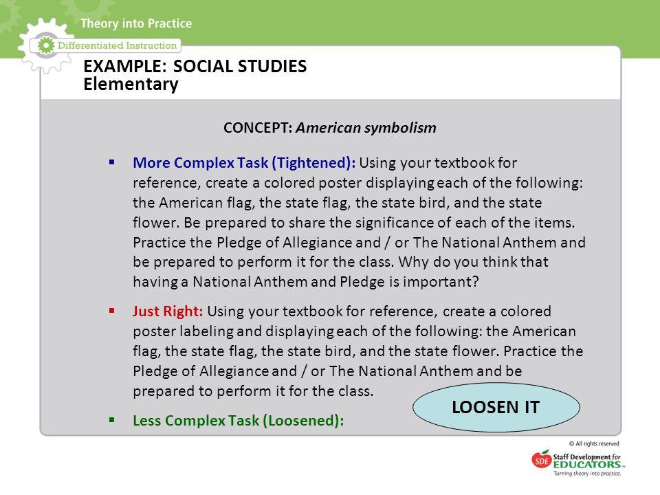 EXAMPLE: SOCIAL STUDIES Elementary