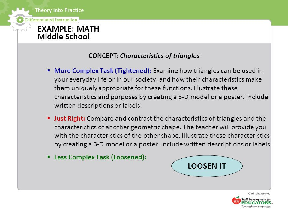 EXAMPLE: MATH Middle School