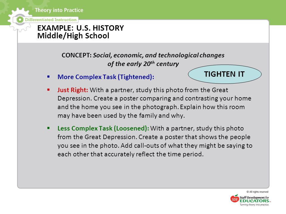 EXAMPLE: U.S. HISTORY Middle/High School