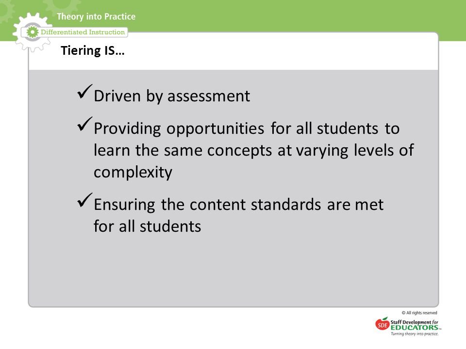 Ensuring the content standards are met for all students