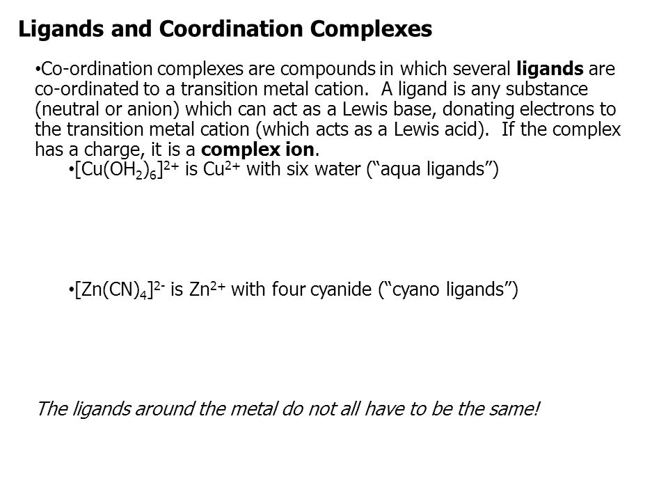 Ligands and Coordination Complexes