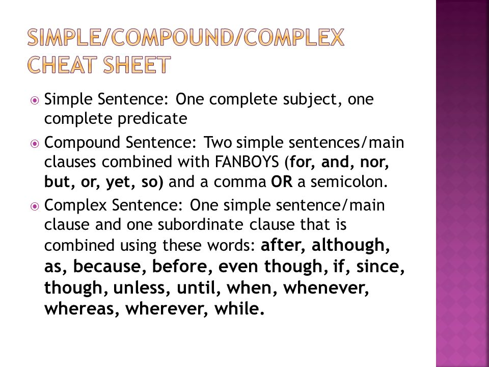 Simple/compound/complex cheat sheet