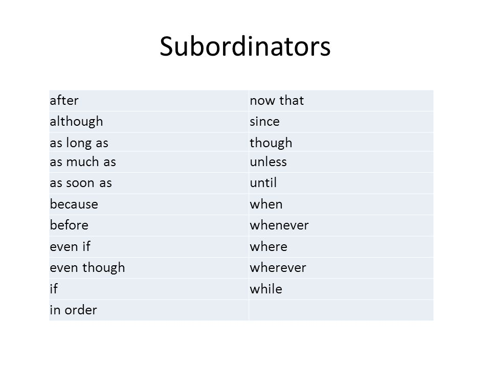Subordinators after now that although since as long as though