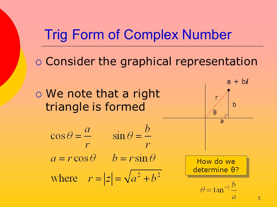 Trig Form of Complex Number
