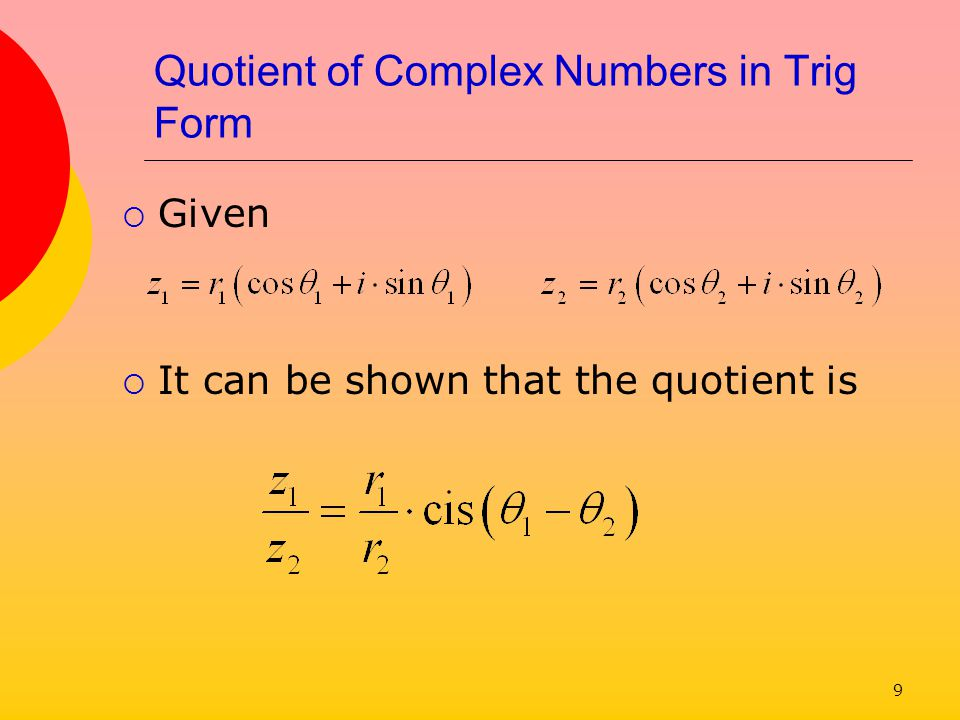 Quotient of Complex Numbers in Trig Form