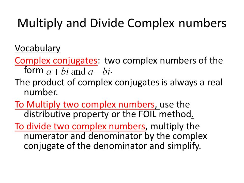 Warm up Simplify the following without a calculator 5 Define – Multiplying Complex Numbers Worksheet