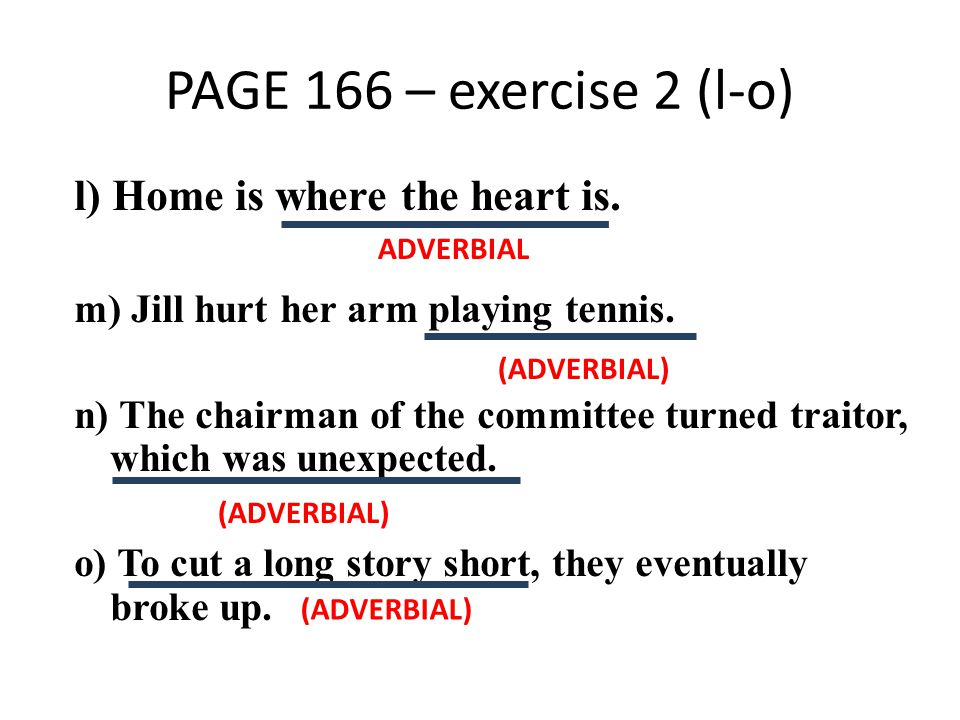 PAGE 166 – exercise 2 (l-o) l) Home is where the heart is.