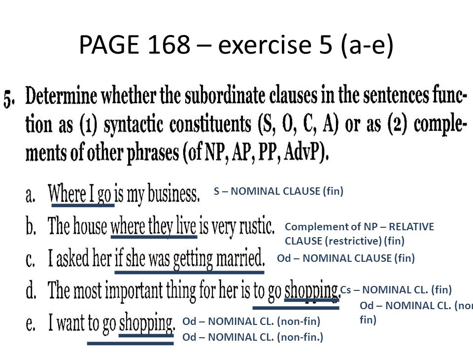 PAGE 168 – exercise 5 (a-e) S – NOMINAL CLAUSE (fin)