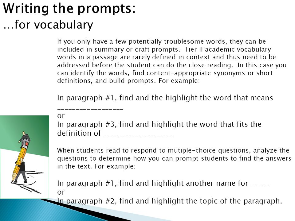 Writing the prompts: …for vocabulary