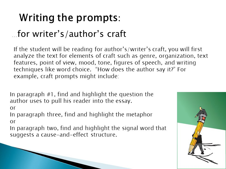 Writing the prompts: …for writer's/author's craft