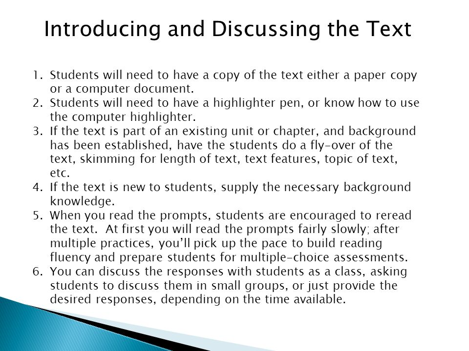 Introducing and Discussing the Text