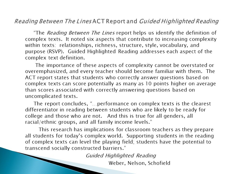 Reading Between The Lines ACT Report and Guided Highlighted Reading