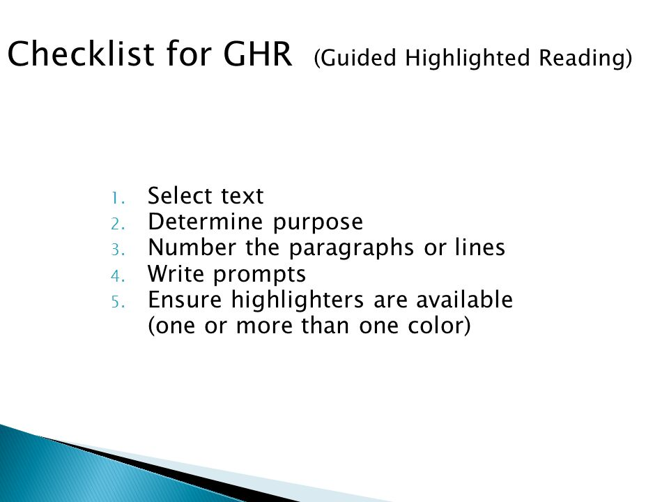 Checklist for GHR (Guided Highlighted Reading)