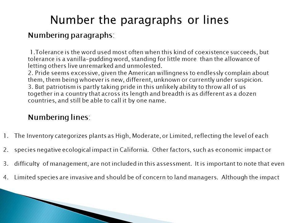 Number the paragraphs or lines
