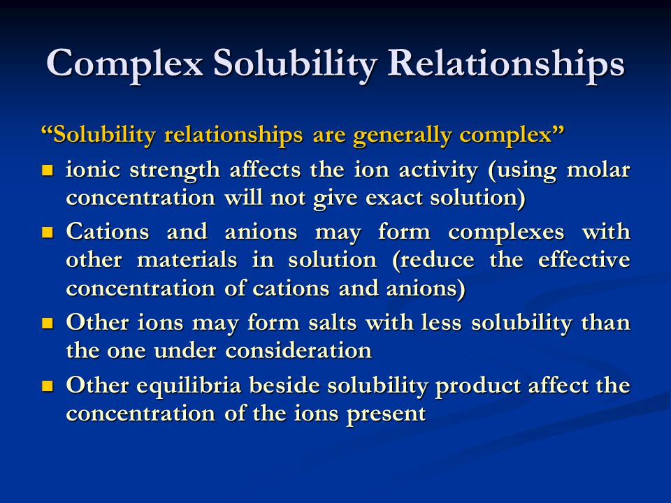 Complex Solubility Relationships