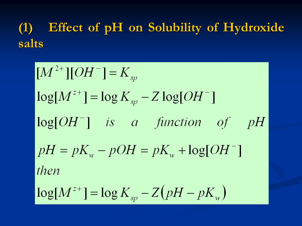 (1) Effect of pH on Solubility of Hydroxide salts