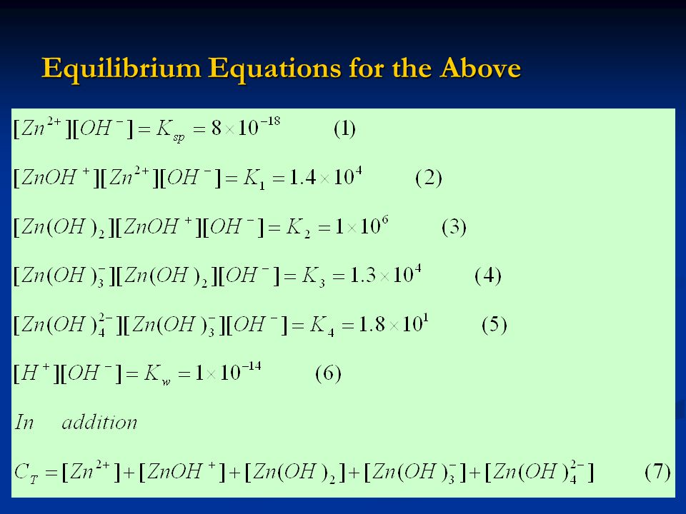 Equilibrium Equations for the Above