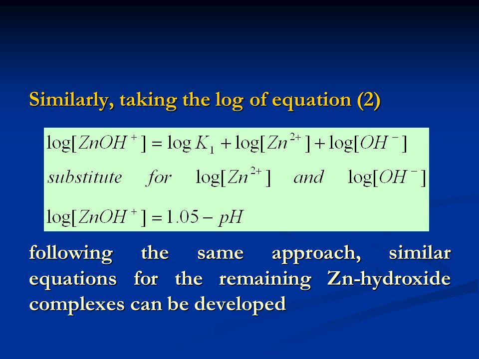 Similarly, taking the log of equation (2)